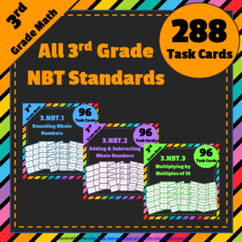 3rd Grade NBT Task Cards: ALL Numbers & Operations in Base