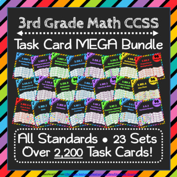 3rd Grade Math Task Cards Digital + Paper MEGA Bundle: Google + PDF Task Cards