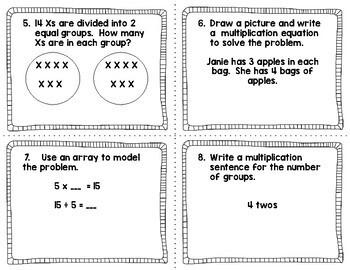 3rd Grade Math Task Cards EngageNY /Eureka Module 1  Multiplication and Division