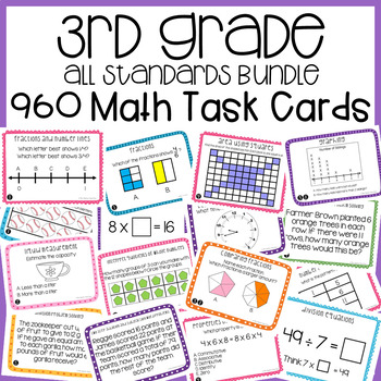 3rd Grade Math Task Cards Mega Bundle | 3rd Grade Math Centers Bundle