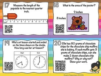 3rd Grade Math Task Cards With Optional QR Codes