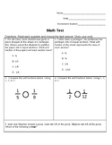 3rd Grade Math Test: Comparing Fractions