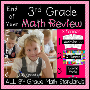 End of Year Math Review for 3rd Grade