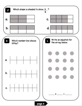 3rd Grade Math Test Prep BUNDLE (Volumes 1-3)
