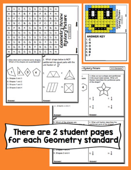 3rd Grade Math Test Prep Mystery Pictures - Geometry