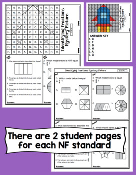 3rd Grade Math Test Prep Mystery Pictures - Number and Operations - Fractions