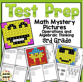 3rd Grade Math Test Prep Mystery Pictures - Operations and Algebraic Thinking