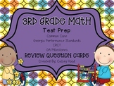 3rd Grade Math Test Prep Review Question Cards Common Core, Georgia Milestones