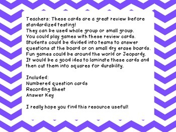 3rd Grade Math Test Prep Review Question Cards Common Core, Georgia Milestones
