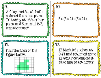 3rd Grade Math - Test Prep Task Cards