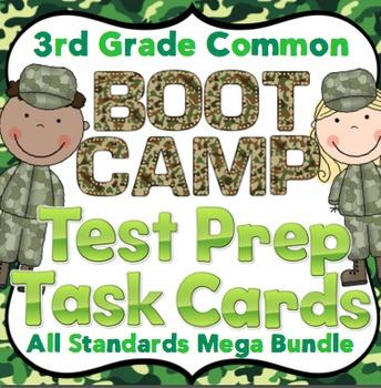 Math Test Prep Task Cards (Boot Camp Theme) 3rd Grade