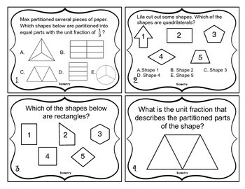 3rd Grade Math Test Prep Task Cards (Geometry)