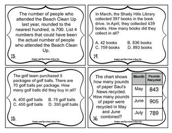 3rd Grade Math Test Prep Task Cards (Number and Operations in Base Ten)
