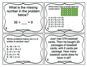 3rd Grade Math Test Prep Task Cards (Operations and Algebraic Thinking)