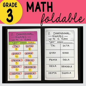 3rd Grade Math Two Dimensional Shapes Up to 12 Sides Foldable by Math Doodles