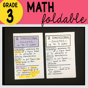 Doodle Notes - 3rd Grade Math Two Dimensional Shapes Up to 4 Sides Foldable
