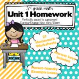 3rd Grade Math: Unit 1 - Eureka/EngageNY/Zearn Homework Pack