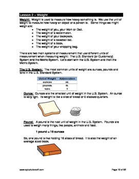 "3rd Grade Math Unit 10 ""Measurements"" - Lessons, Worksheets, Solution Manuals"
