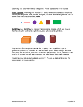 """3rd Grade Math Unit 12 """"Geometry"""" - Lessons, Worksheets, Solution Manuals"""