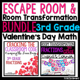 3rd Grade Math Valentine's Day Room Transformation and Escape Room Bundle