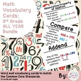3rd Grade Math Vocabulary Cards: All Year Bundle (Large)