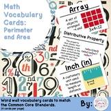 3rd Grade Math Vocabulary Cards: Perimeter and Area