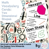 3rd Grade Math Vocabulary Cards: Two Dimensional Shapes