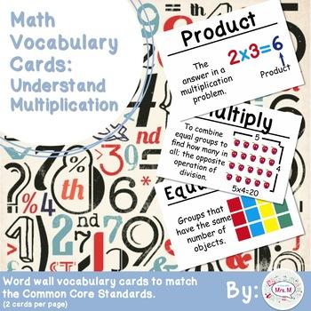 3rd Grade Math Vocabulary Cards: Understand Multiplication (Large)