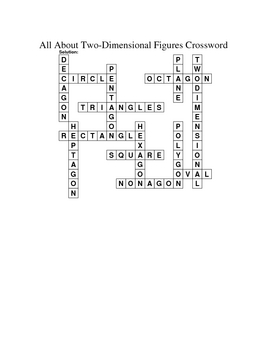 3rd Grade Math Vocabulary Crossword Puzzles