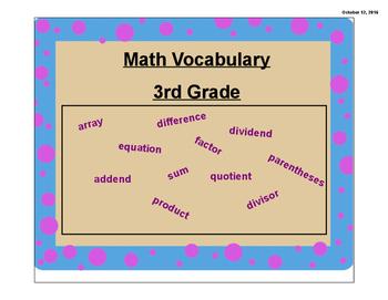 3rd Grade Math Vocabulary, Engage New York 3rd Grade Module 1