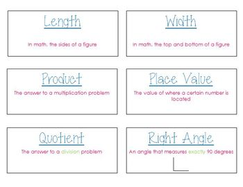 3rd Grade Math Vocabulary Flashcards (Common Core Aligned)