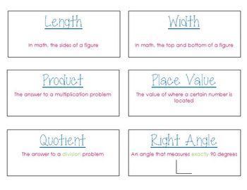 3rd Grade Math Vocabulary Flashcards (Common Core Aligned)