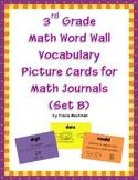 3rd Grade Math Vocabulary Picture Cards for Math Journals (Set B)