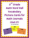 3rd Grade Math Vocabulary Picture Cards for Math Journals (Set D)