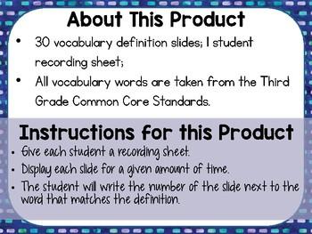 3rd Grade Math Vocabulary Quiz