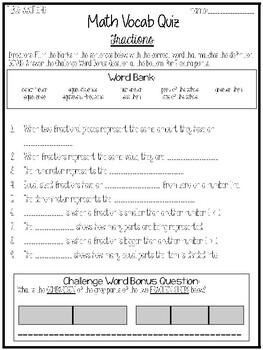 3rd Grade Math Vocabulary Unit Quizzees