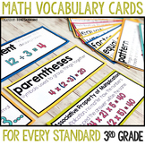 3rd Grade Math Vocabulary Word Wall Cards for the Common Core Standards