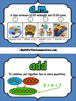 3rd Grade Math Vocabulary Word Wall for The Common Core