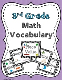 3rd Grade Math Vocabulary flash cards/study cards