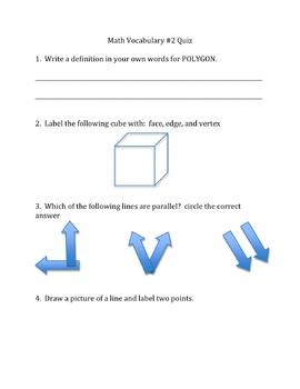 3rd Grade Math Vocabulary/Geometry Review List