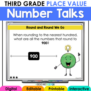 Digital Number Talks Third Grade Place Value Math WarmUps