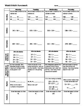 3rd Grade Math Weekly Homework Weeks 1-14