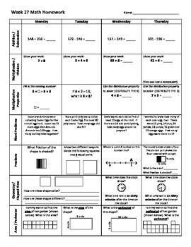 3rd Grade Math Weekly Homew... by Coaching thru Math | Teachers ...
