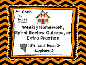 3rd Grade Math Weekly Spiral Review Homework, Quiz,or Extra ...