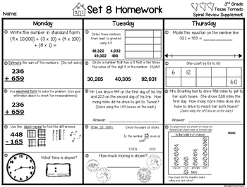 3rd Grade Math Weekly Spiral Review Homework, Quiz,or Extra Practice TEKS Part 1
