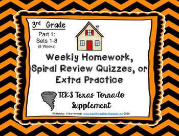 3rd Grade Math Weekly Spiral Review Homework, Quiz,or Extr