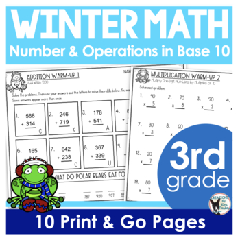 3rd Grade Math Winter Warm Ups CCSS Numbers and Operations in Base 10