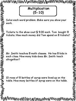 3rd Grade Math Word Problems