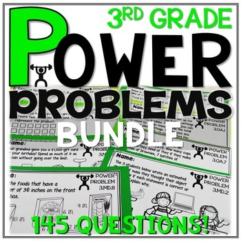 3rd Grade Math Word Problems | Test Prep YEARLONG BUNDLE | SPIRAL REVIEW