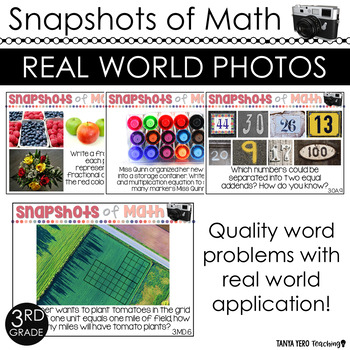 3rd Grade Math Word Problems with Photos 100 QUESTIONS ALL STANDARDS *TEST PREP*